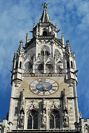 Clock At Marienplatz In Munich Royalty Free Stock Image.