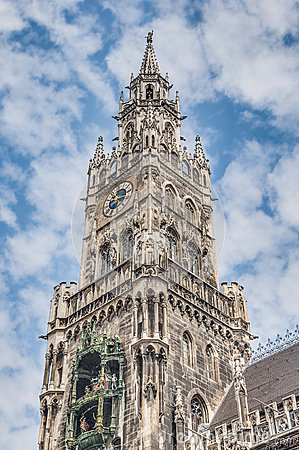 Neues Rathaus Carillion In Munich, Germany Stock Photo.