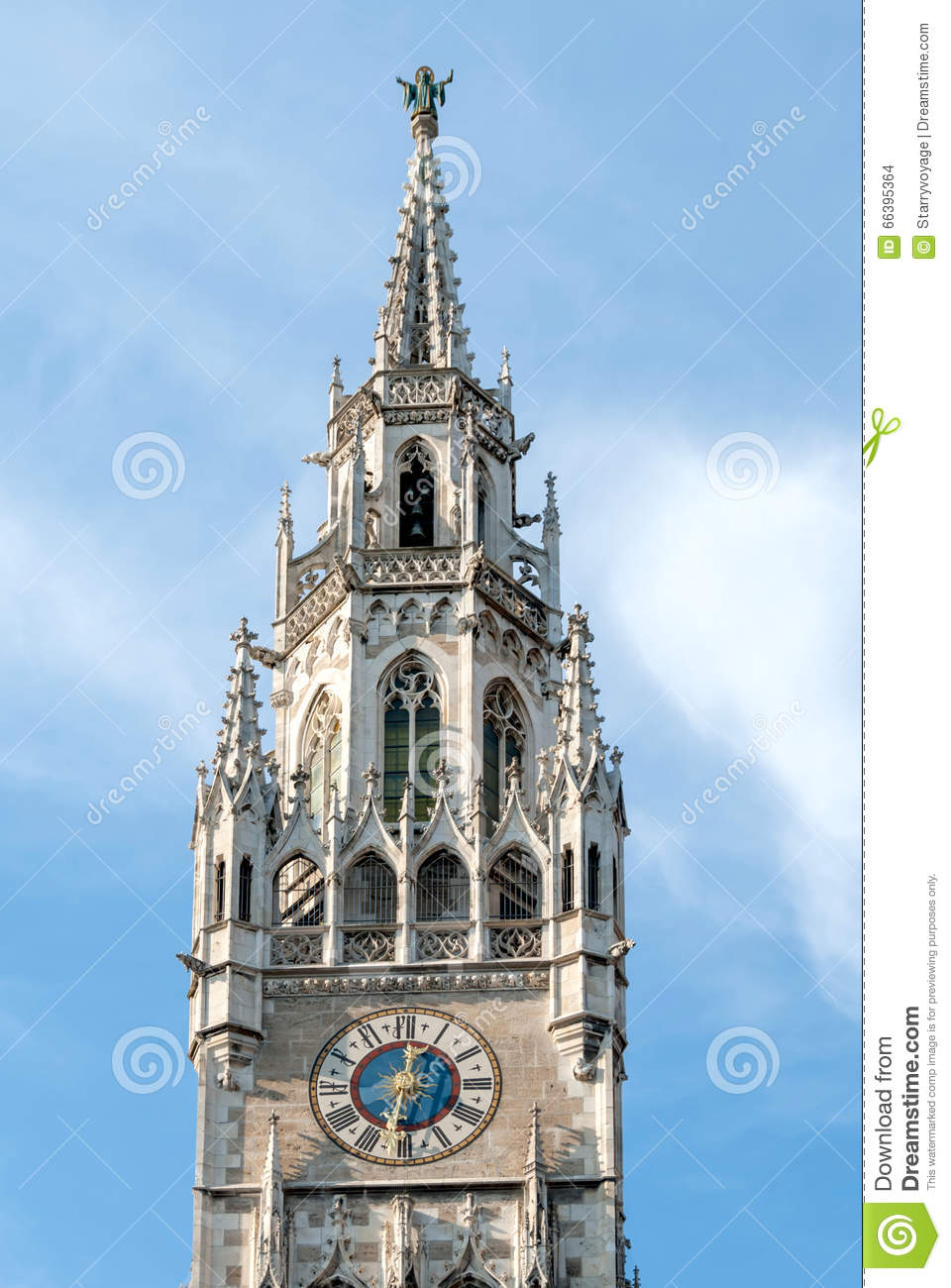 Clock Tower Of The New Town Hall Building In Munich, Germany Stock.