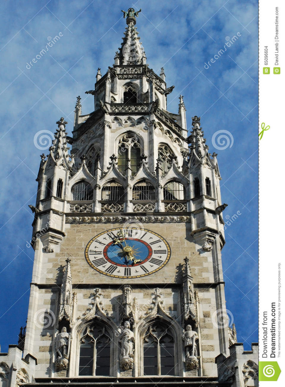 Munich Town Hall Clock Stock Photo.