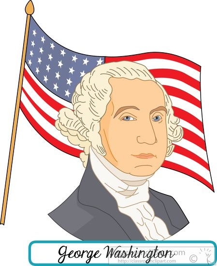 Clipart of george washington with the flag.