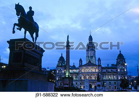 Stock Photo of City Hall, opened by Queen Victoria in 1888. George.