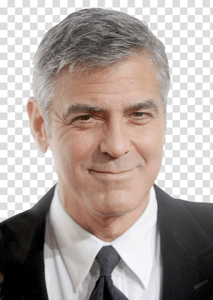 George Clooney Hairstyle Fashion, smiling transparent.