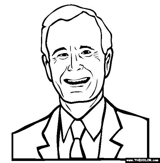 George H W Bush Online Coloring Page.