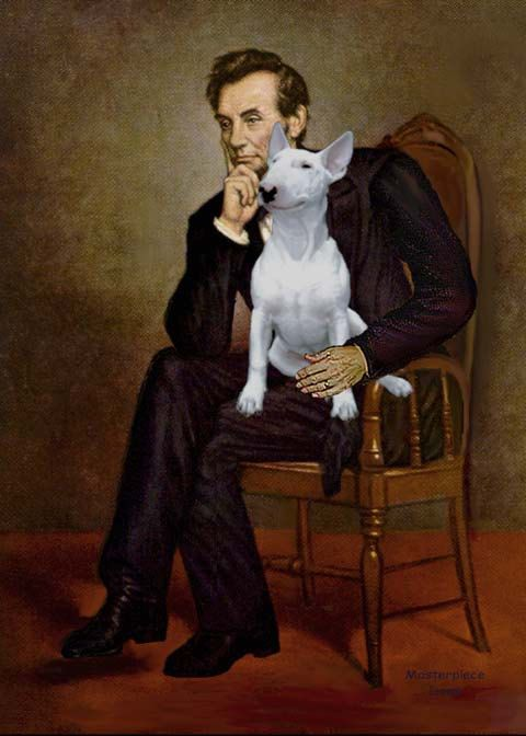 5x7 print of Abraham Lincoln (famous art) with a Bull Terrier.