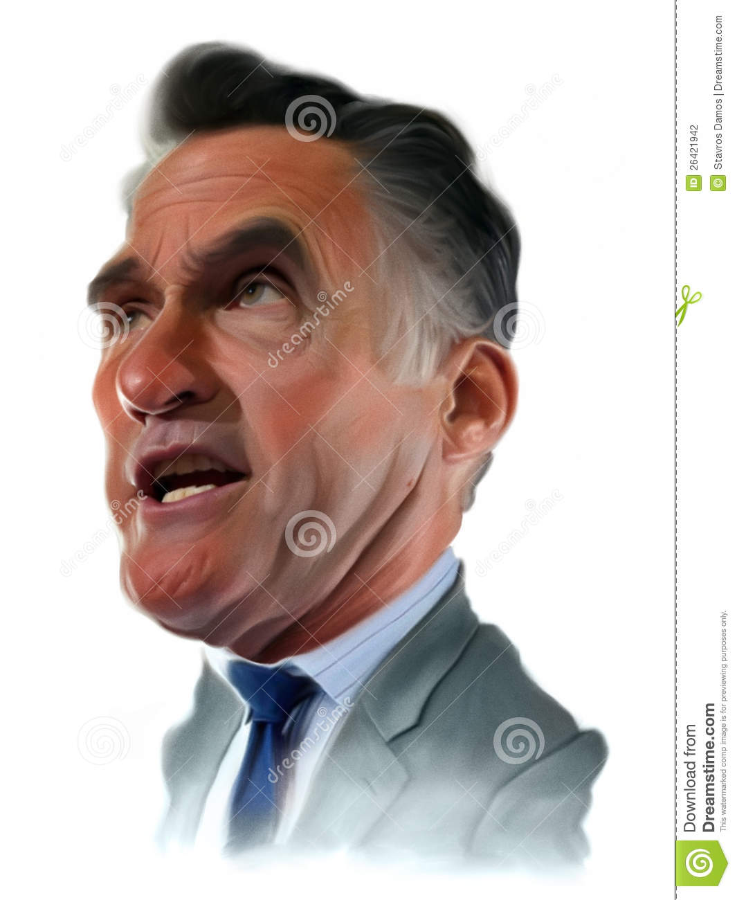 Mitt Romney Caricature Portrait Editorial Photography.