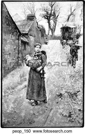 Stock Illustrations of Street Scene: Woman carrying child; from.