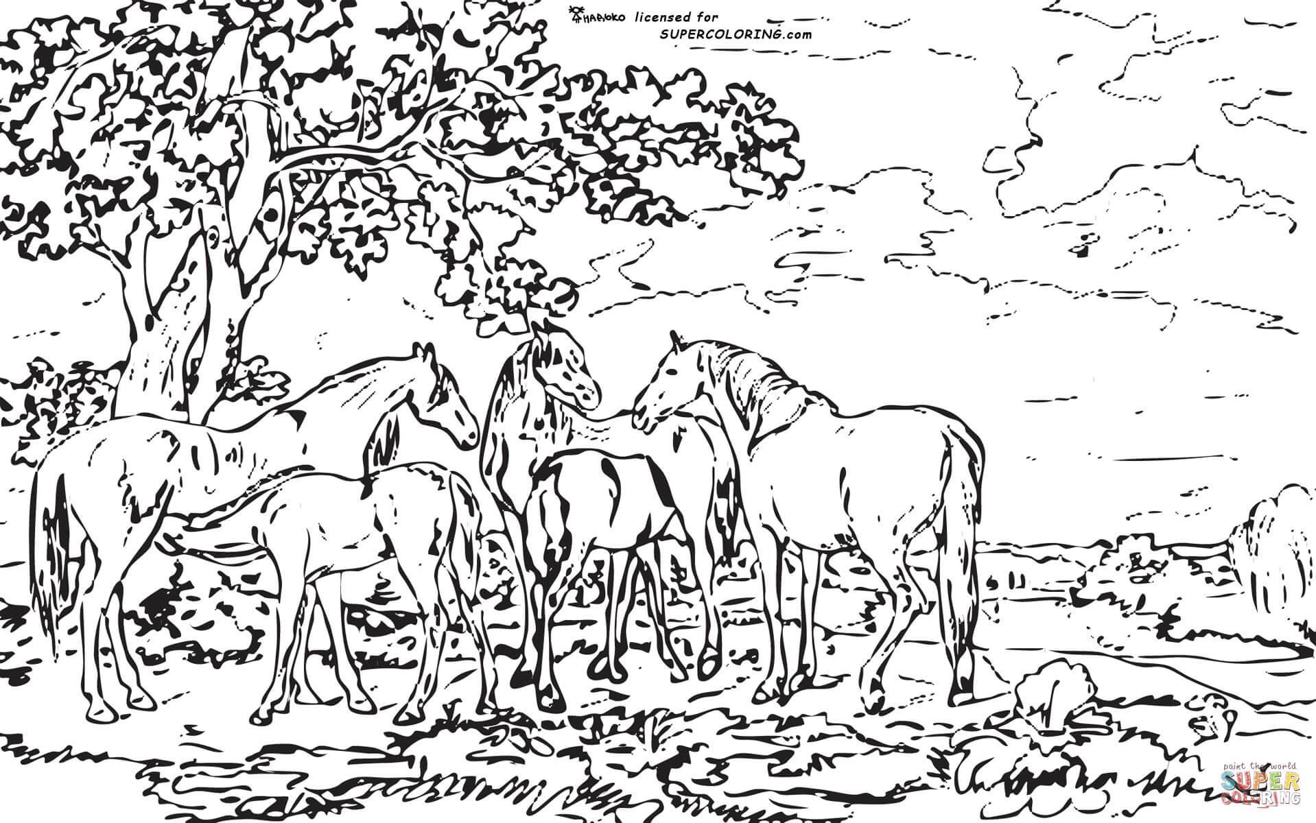 Mares And Foals In A River Landscape By George Stubbs coloring.