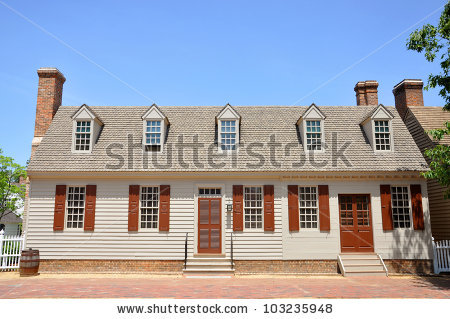 Antique House In Colonial Williamsburg, Virginia, Usa Stock Photo.