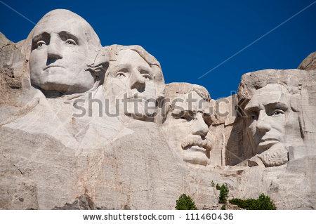 George Washington Thomas Jefferson Theodore Roosevelt Stock Photo.