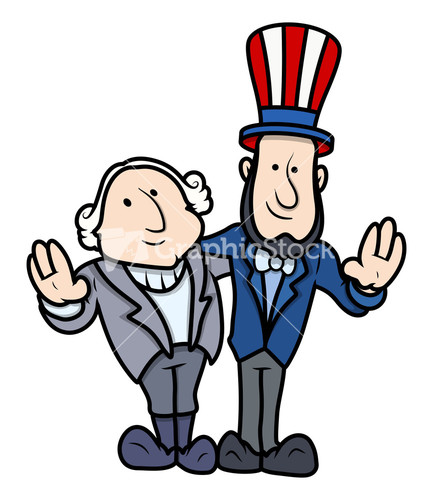 George Washington & Abraham Lincoln Clip Art Cartoon Vector.