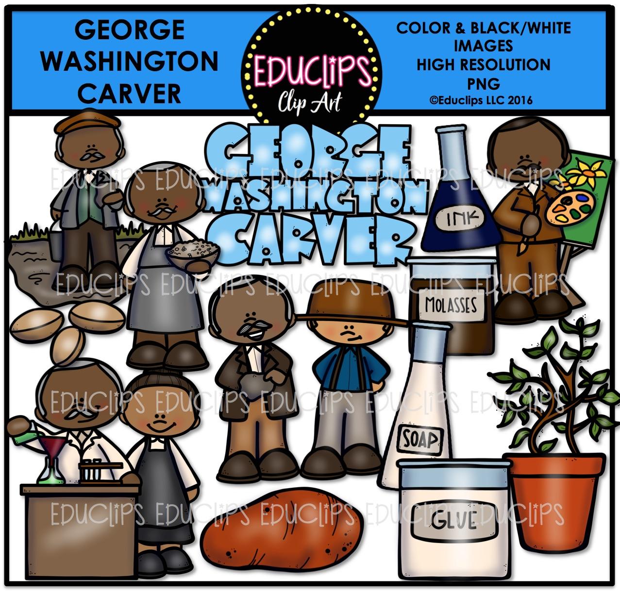 George Washington Carver Clip Art Bundle (Color and B&W).