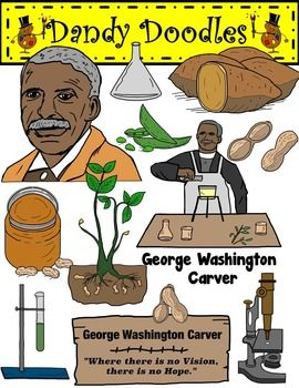 George Washington Carver Clip Art by Dandy Doodles.