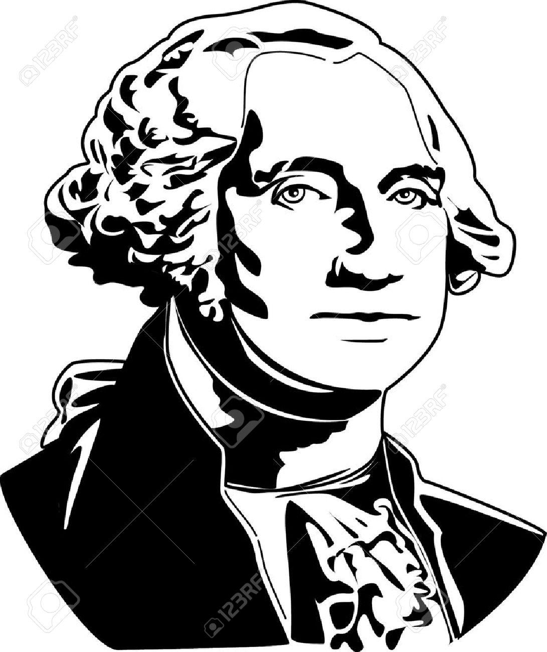 Black and white vector illustration of George Washington.
