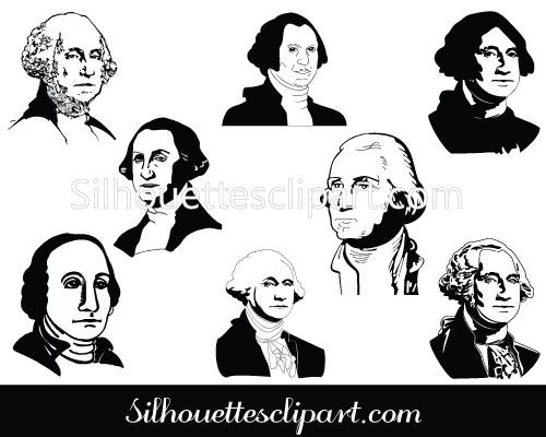 George Washington Silhouette Clip Art pack.