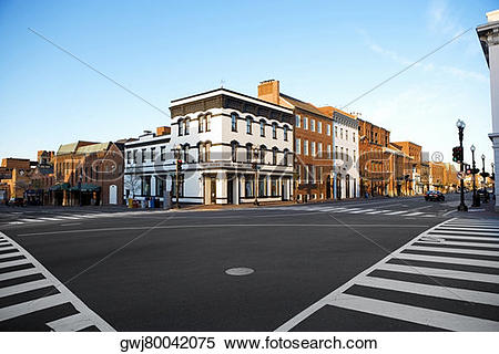 Stock Image of Low angle view of the intersection of Wisconsin and.