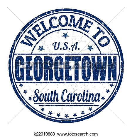 Clipart of Welcome to Georgetown stamp k22910880.
