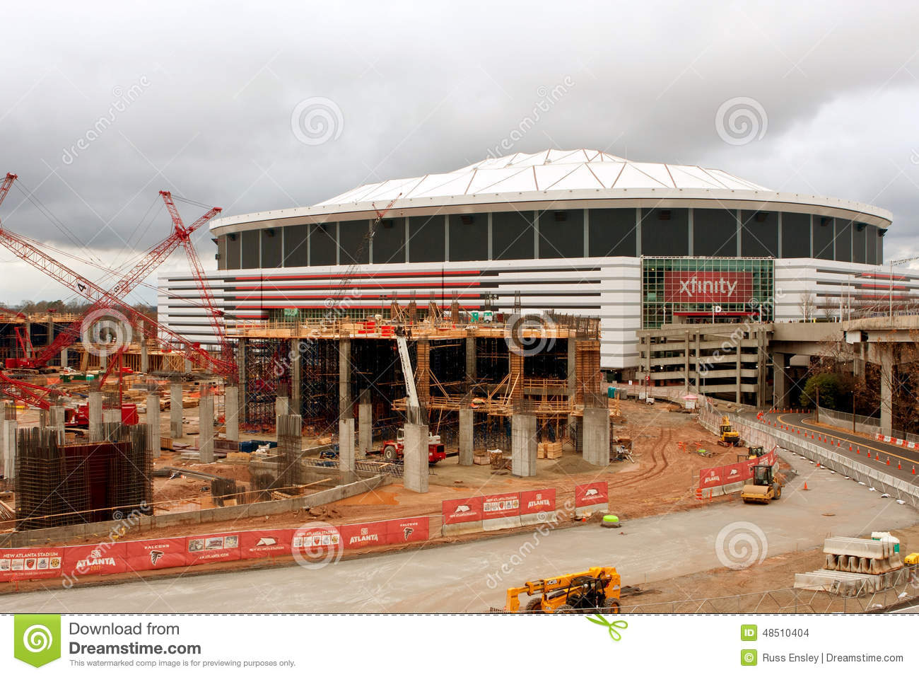 Construction Site Of New Stadium Sits Next To Georgia Dome.