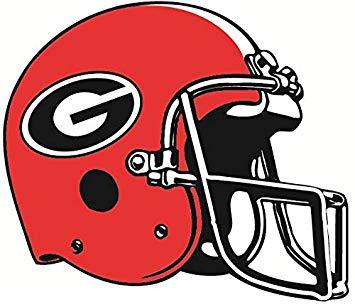 8 Inch Football Helmet Uga University of Georgia Bulldogs Mascot Logo  Removable Wall Decal Sticker Art NCAA Home Room Decor 8 by 6 Inches.