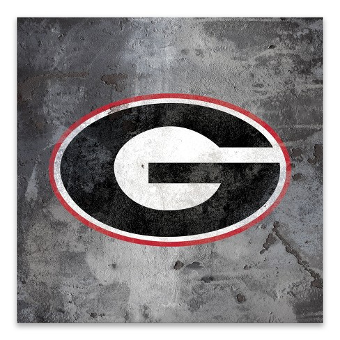 NCAA Georgia Bulldogs Logo Rust Printed Canvas.