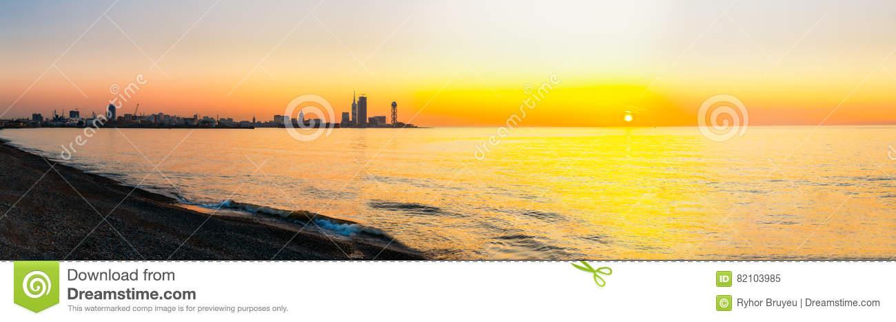 Batumi, Adjara Georgia. Embankment At Sunset Sunrise . Bright.