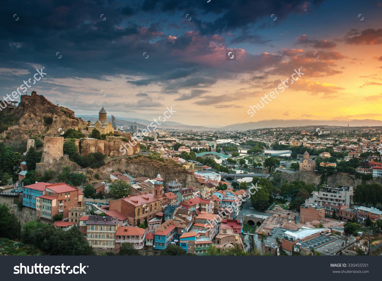 Panoramic View Tbilisi Sunrise Georgia Europe Stock Photo.