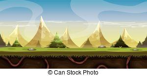 Vector Clip Art of Cartoon Mountains Landscape.