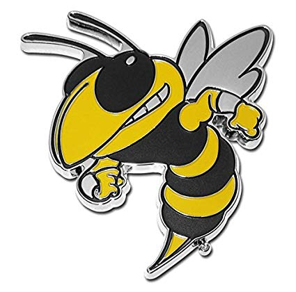 Georgia Tech University Buzz Mascot METAL Auto Emblem.