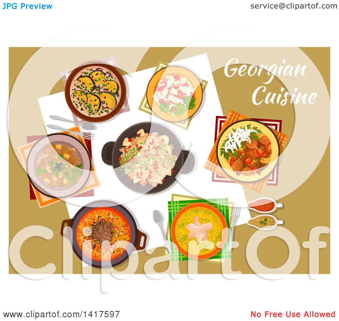 Clipart of a Table with Georgian Cuisine and Text.