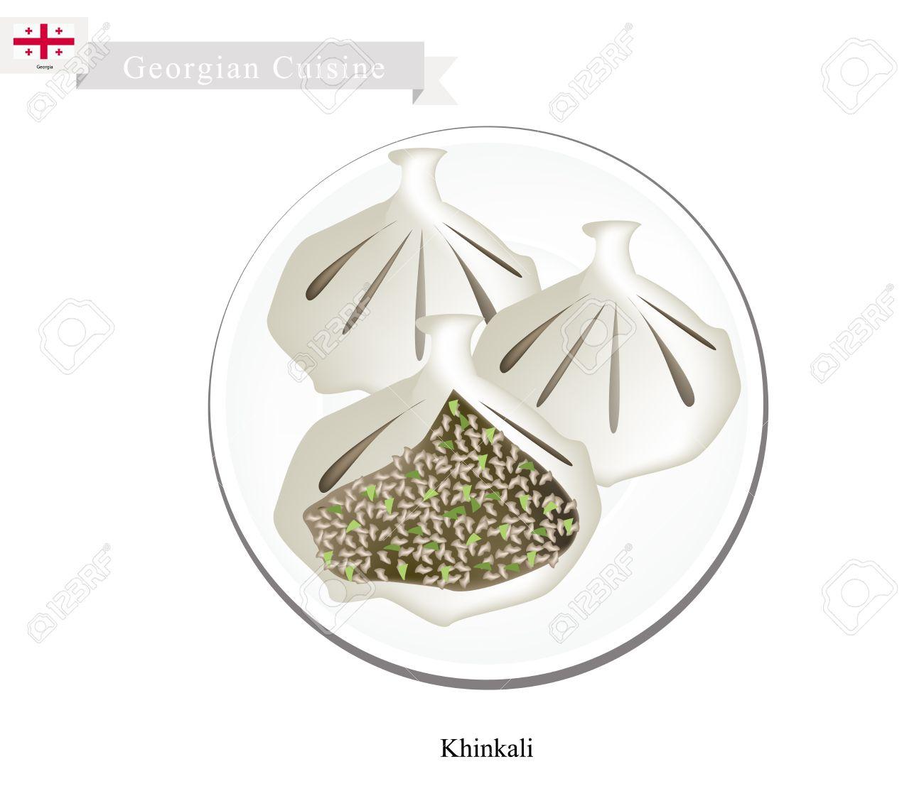Georgian Cuisine, Khinkali Or Dumpling Made Of Twisted Knobs.