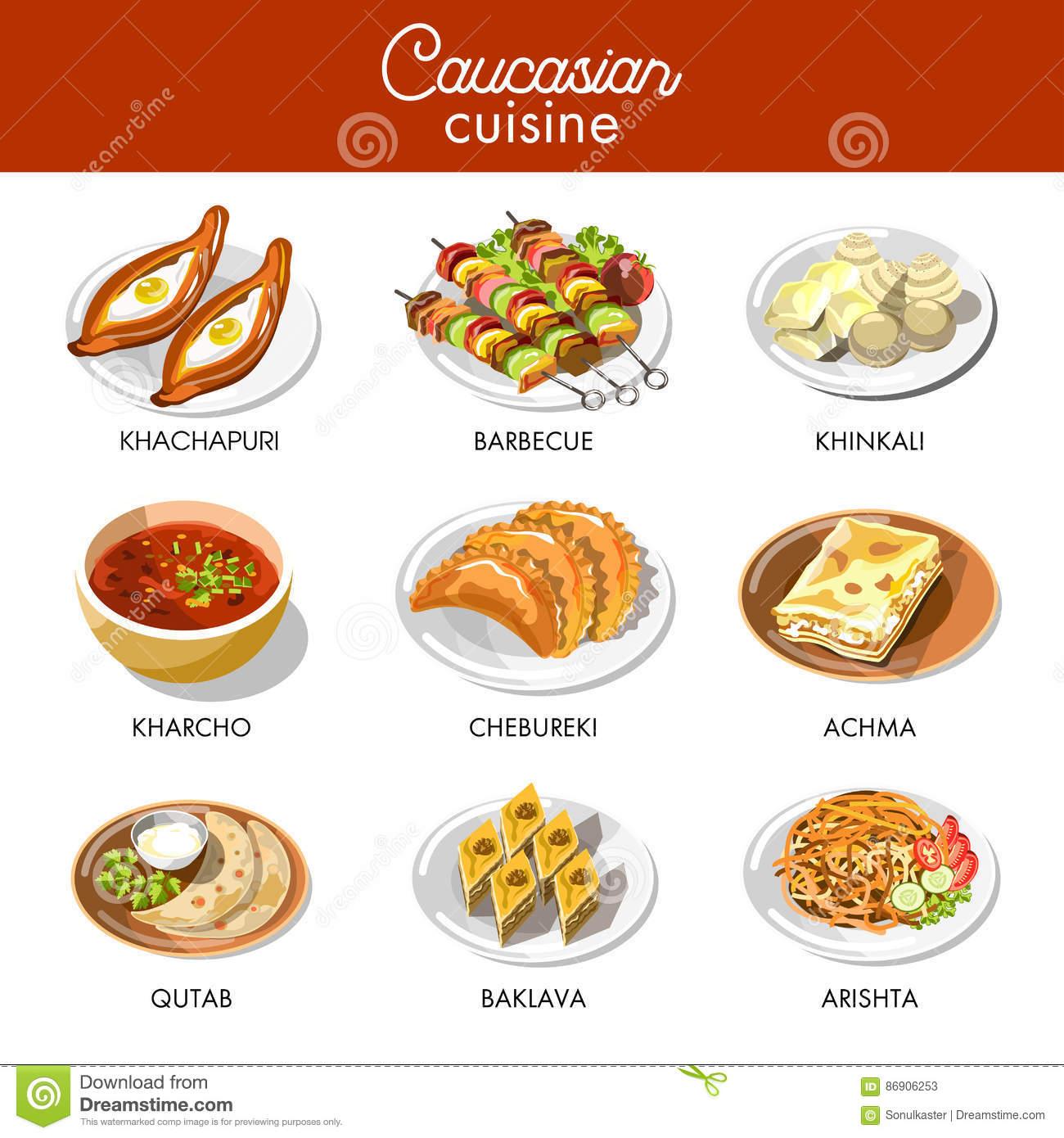 Caucasian Or Georgian Cuisine Menu Vector Flat Icons Set Stock.