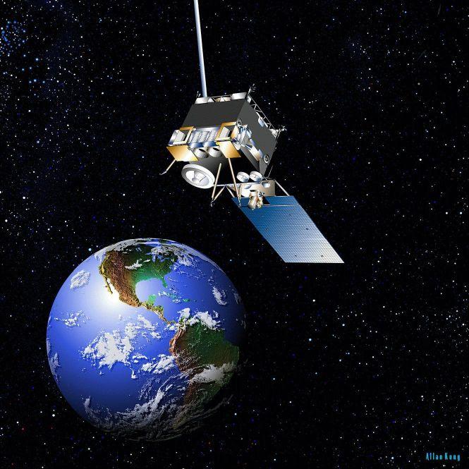 Geostationary weather satellites.