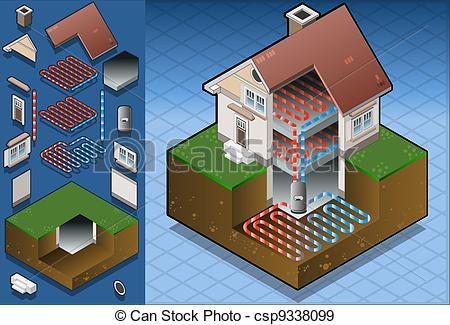 EPS Vectors of geothermal heat pump/underfloorheat.