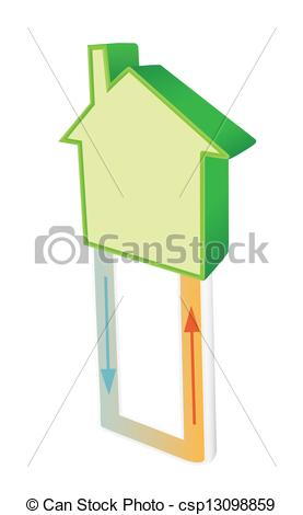 Clipart Vector of Geothermal heat.