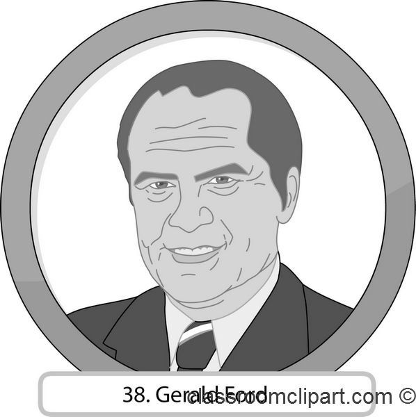 People Gray and White Clipart: 38_Gerald_Ford_gray : Classroom Clipart.