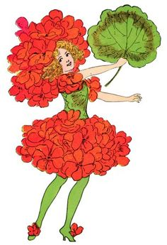 5916 1910 Postcard Greeting Geranium Flower Hat Fantasy Little.