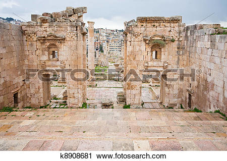 Stock Photography of view through antique Artemis temple in.