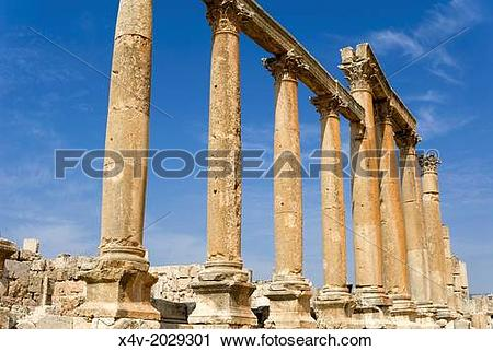 Stock Photography of The Cardo, Colonnaded Street, Jerash, Gerasa.