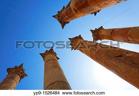Stock Photo of Columns at the Temple of Artemis at Gerasa, Jerash.