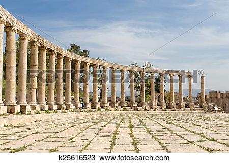 Stock Photo of Forum (Oval Plaza) in Gerasa (Jerash), Jordan.