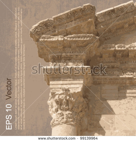 Ruins Ancient City Gerasa Jerash Jordan Stock Vector 99139958.