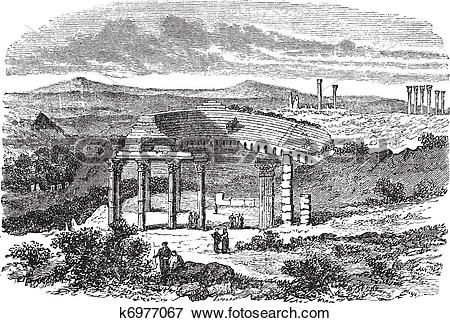 Clip Art of The ruins of Gerasa in Jordan vintage engraving.