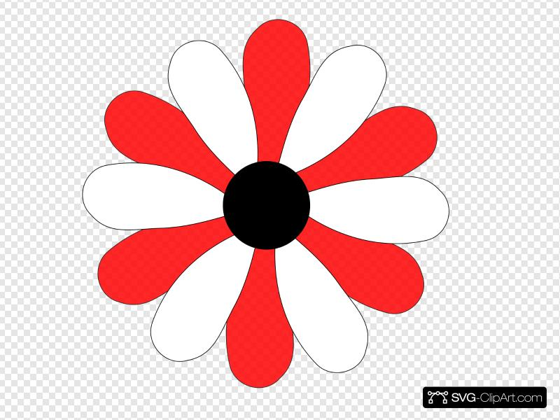 Red And White Gerber Daisy Clip art, Icon and SVG.