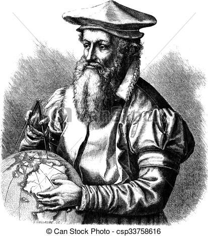 Vector Clip Art of Gerard Mercator, vintage engraving..