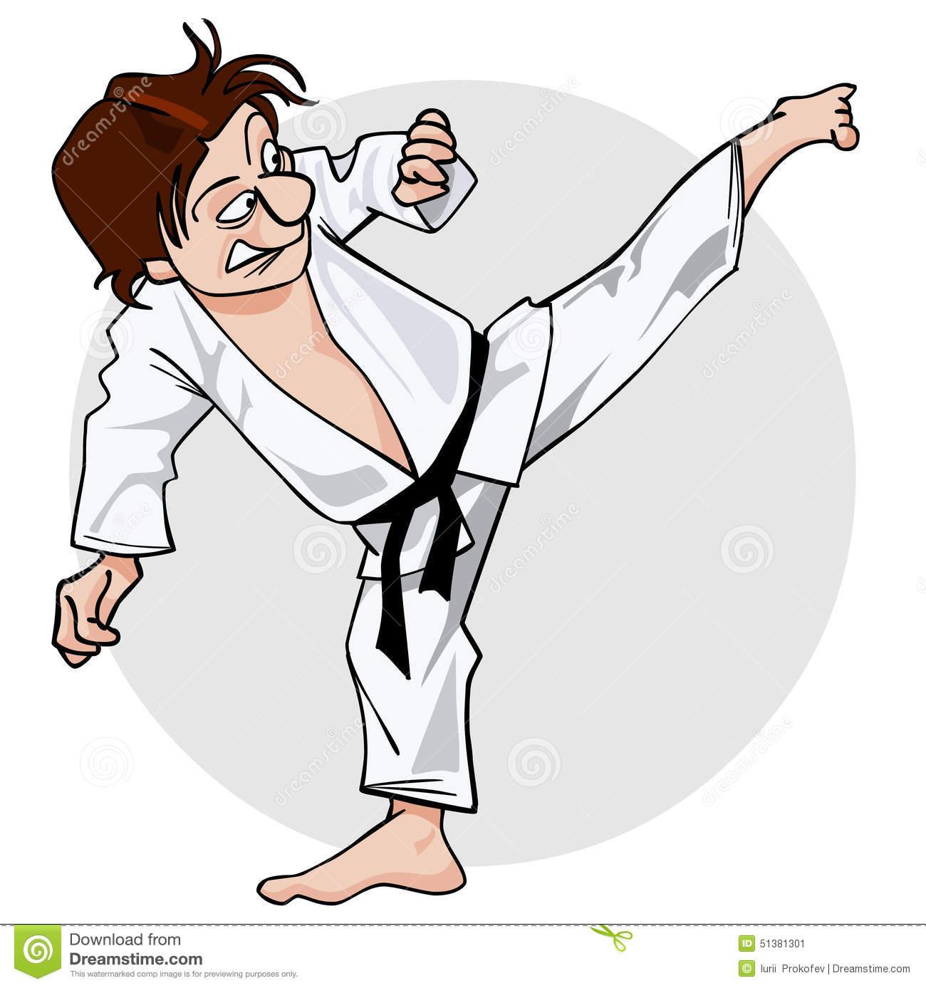 Cartoon Man In A Kimono With A Black Belt In Kicking Pose Yoko.