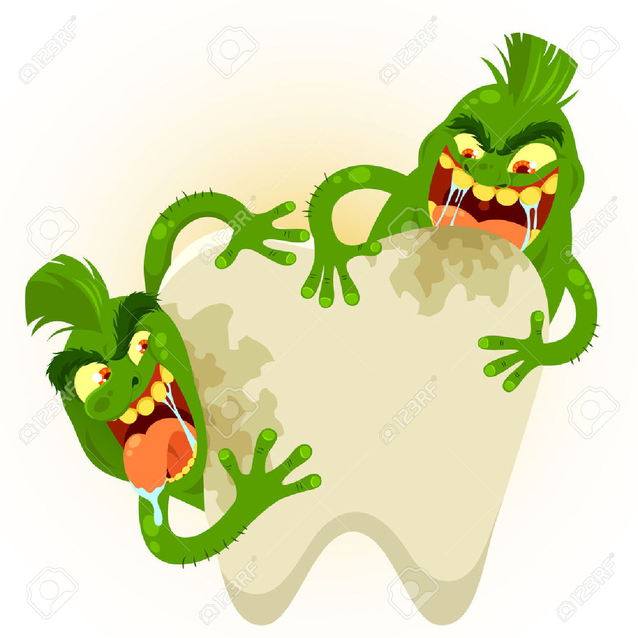 Cartoon Germs Destroying A Tooth Royalty Free Cliparts, Vectors.