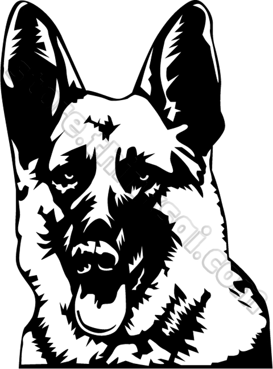 German shepherd head clipart.