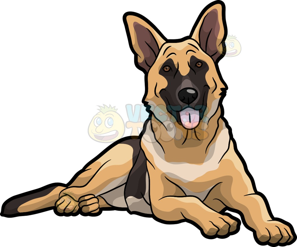 A Pretty German Shepherd Dog Cartoon Clipart.