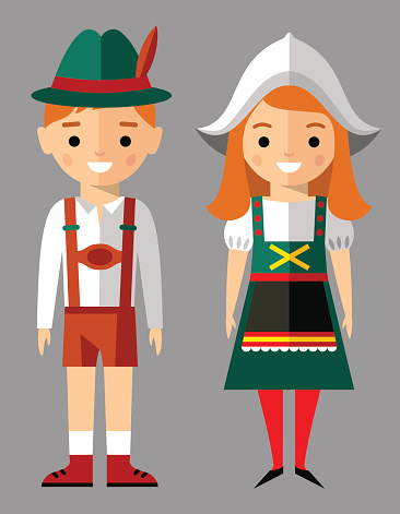 Clipart german boy and girl.
