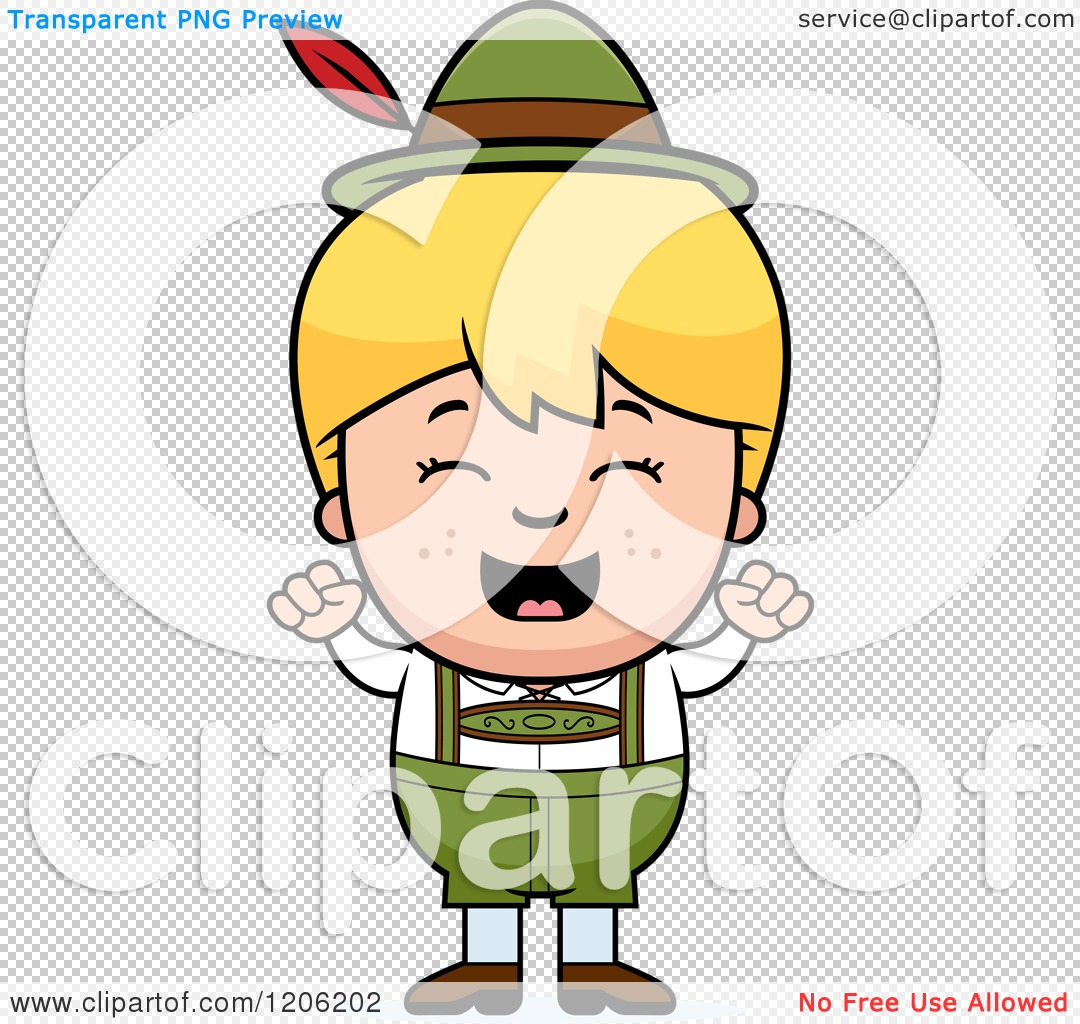 Cartoon of a Happy Blond Oktoberfest German Boy Cheering.